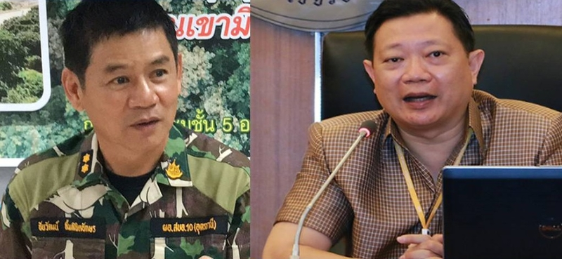 File Photo: (Right) Pol Lt Colonel Chen Kanchanapat and (Left) Chaiwat Limlikhitaksorn