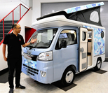 Light campers such as this one displayed in Suginami Ward, Tokyo, are popular among senior citizens./The Japan News photo