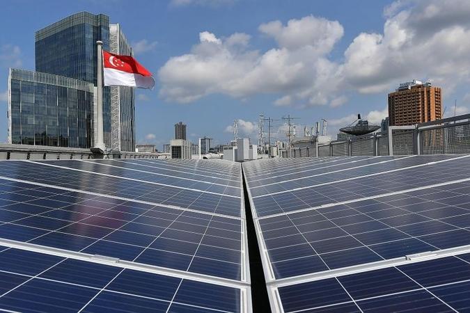 Rooftop solar panels at the Old Hill Street Police Station. ST PHOTOS: SHINTARO TAY, NG SOR LUAN