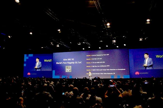 Huawei CEO Richard Yu introduces the Kirin 990 5G SoC. (Lim Jeong-yeo/The Korea Herald)