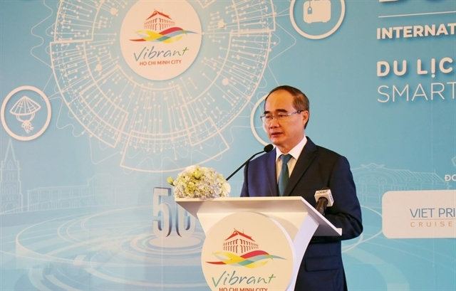 Nguyen Thien Nhan, secretary of the Party Committee for Ho Chi Minh City, speaks at an international conference on smart tourism development held in the city on September 7. VNA/VNS Photo My Phuong