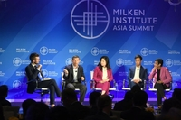 (From left) Mr Jonathan McClory, moderator of the panel discussion on the fight against fake news at the Milken Institute Asia Summit 2019, with Warren Fernandez, editor of The Straits Times; Ellana Lee, senior vice-president at CNN International; Gary Liu, CEO of South China Morning Post; and Maria Ressa, executive editor of Rappler.ST PHOTO: DESMOND FOO