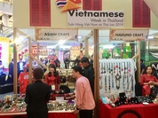 "Customers visit a Vietnamese booth at the ""Vietnamese Week in Thailand 2019"", which officially opened on September 18 in Bangkok, Thailand. — VNS Photo Linh Anh"