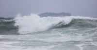 High waves are seen in waters off South Korea's southern island of Jeju on Saturday. (Yonhap)