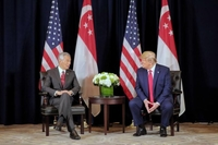 Singapore Prime Minister Lee Hsien Loong and US President Donald Trump attend a bilateral meeting at the Intercontinental New York Barclay in New York on Sept 23, 2019.ST PHOTO: GAVIN FOO