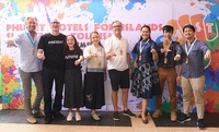 Youth and Activism in Tourism: (from left):  Guy Heywood, COO at Six Senses Hotels Resorts;  Jesper Palmqvist Area Director for Asia Pacific STR with his daughter Miss Maylea Palmqvist;  Marissa Sukosol, EVP of Sukosol Hotels; Anthony Lark, President, Phuket Hotel Association and Co-Organiser of PHIST 2019; Kanokrittika Kritwoottigon, Director of Tourism Authority of Thailand Phuket office; and Thai rappers and winners of the Green Beat 60 competition Rattanachot Srikhongmuang and Kanthep Srikhongmuang.