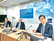 "Manmohan Parkash, centre, country director of ADB, listens to reporters' queries while releasing its ""Asian Development Outlook 2019 Update"", at ADB's Dhaka office yesterday. Photo: Collected"