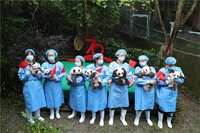 Breeders at the Chengdu Research Base of Giant Panda hold this year's newborn panda cubs and mini Chinese national flags in their arms, in Chengdu, in sSouthwest China's Sichuan province, on Sept 24, 2019. To date, the Chengdu Research Base of Giant Panda has welcomed seven panda cubs in 2019, including the world's heaviest panda pigeon pair.