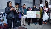 Asian Americans protest against the deportation of Cambodians from the US. PHOTO: TWITTER