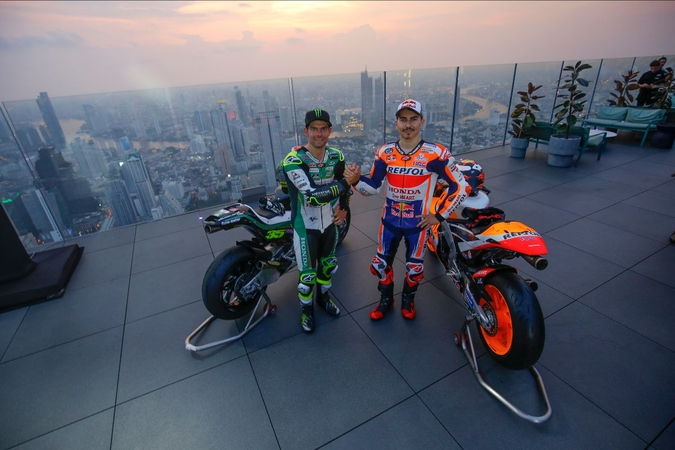 On top of the world: Lorenzo, Crutchlow and Chantra raise the roof in Bangkok