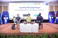 National Bank of Cambodia (NBC) Director-General Chea Serey (left), NBC Deputy Governor Neav Chanthana (centre) and Australian Embassy in Cambodia Second Secretary Anthony Samson at Cambodia Fintech Day 2019 on Wednesday. CAMBODIA FINTECH DAY VIA FACEBOOK