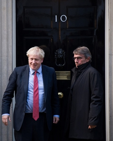 British Prime Minister Boris Johnson, left, meets the President of the European Parliament David Sassoli on Tuesday in London. Photo: Getty Images