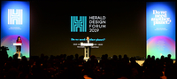 Herald Corp. Chairman Jung Chang-sun delivers the opening speech at Herald Design Forum 2019. (Park Hae-mook/The Korea Herald)