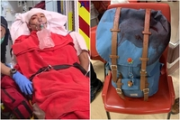 Mr Jimmy Sham was bleeding from the head but was conscious when seeking treatment at the hospital. (Right) His stained backpack after the attack on Oct 16, 2019. PHOTOS: TANYA CHAN/FACEBOOK, SCREENGRAB FROM RTHK VNEWS/FACEBOOK