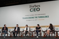(From left) Klook co-founder and chief operating officer Eric Gnock Fah, Sea chairman and group chief executive officer Forrest Li, Grab co-founder Tan Hooi Ling and Razer co-founder and chief executive Tan Min-Liang at a panel at the Forbes Global CEO Conference held at the Shangri-La Hotel on Oct 16, 2019. PHOTO: FORBES