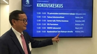 A senior Thai police official has said that Sam Rainsy (pictured in Helsinki, Finland) would not be granted a visa if he intended to cause unrest in Thailand. SAM RAINSY VIA FACEBOOK