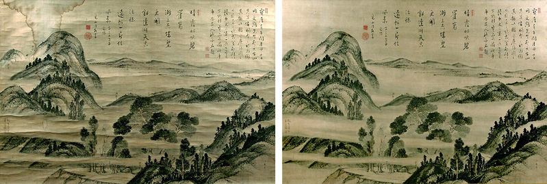 "Ike no Taiga's ""Real Landscape of Mount Hiei"" (1762) is seen before, left, and after, right, its restoration.  The Nerima Art Museum"