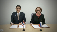 Bank of Thailand Governor Veerathai Santiprabhob(left) and  Elvira Nabiullina, Governor of the Central Bank of the Russian Federation.