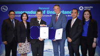Chattan Kunjara Na Ayudhya, Deputy Governor for International Marketing (Asia and South Pacific), Tourism Authority of Thailand, third from left, exchanges MoU with Jean-Philippe Monod, Vice President Government & Corporate Affairs at Expedia Group, third from right.