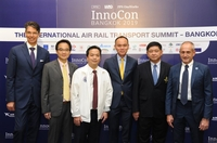 From left: His Excellency Lorenzo Galanti, Italy's Ambassador to Thailand; Nuttapon Suttitum, the Committee of The Engineering Institute of Thailand under H.E. The King Patronage; Surachet Laophulsuk, Assistant Governor, Mass Rapid Transit Authority of Thailand (MRTA);  Dr. Phongthon Tharachai, CEO of Project Planning Service (PPS); Voravuth Mala, Governor of the State Railway of Thailand; and Giulio De Carli, Managing Partner of OneWorks and IARO representative.