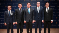 From left: M.L. Thongmakut Thongyai, Chief Executive Officer of KT Zmico Securities; Pornchai Padmindra, Senior Executive Vice President, Co-Head Wholesale Banking and Head Corporate Banking and Investment Banking of CIMB Thai Bank; Naris Cheyklin, Chief Executive Officer of Singha Estate; Dirk De Cuyper, Chief Executive Officer of S Hotels & Resorts and Chairath Sivapornpan, Chief Financial Officer of S Hotels & Resorts