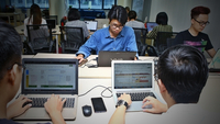 Telepro is a startup working in telesales and telemarketing that employ eager young people. (VNA/VNS Photo Minh Quyết)