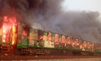 Fire was caused by a cylinder blast, says  Railways Minister Sheikh Rashid.-photo provided by Adnan Sheikh