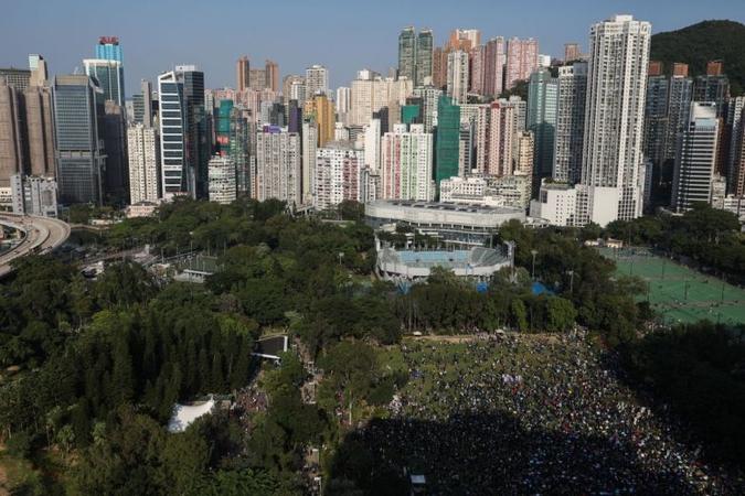 Participants attend a pro-democracy rally in Victoria Park, Hong Kong, on Nov 2, 2019.PHOTO: EPA-EFE