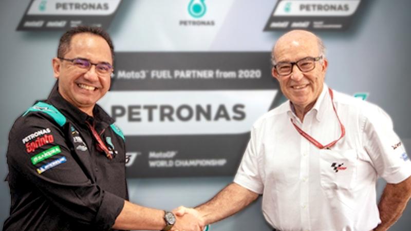 Tan Sri Wan Zulkiflee Wan Ariffin, President & Group CEO, PETRONAS (L) with Dorna CEO Carmelo Ezpeleta