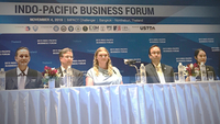 Alexis Underwood, centre, general manager of Guardian Industries Asia Pacific, announces the opening of the company's regional headquarters in Thailand on Monday at the Indo-Pacific Business Forum.