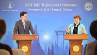 "Kristalina Georgieva, the newly appointed Managing Director of the International Monetary Fund(IMF) shares the stage with central bank governor Veerathai Santiprabhob at the ""BOT-IMF High-Level Conference"" yesterday (November 5)."