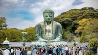 The Great Buddha of Kamakura, a major tourist attraction in Kanagawa prefecture