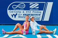 Tamarine Tanasugarn, right and Lesley Pattinama Kerkhove of the Netherlands
