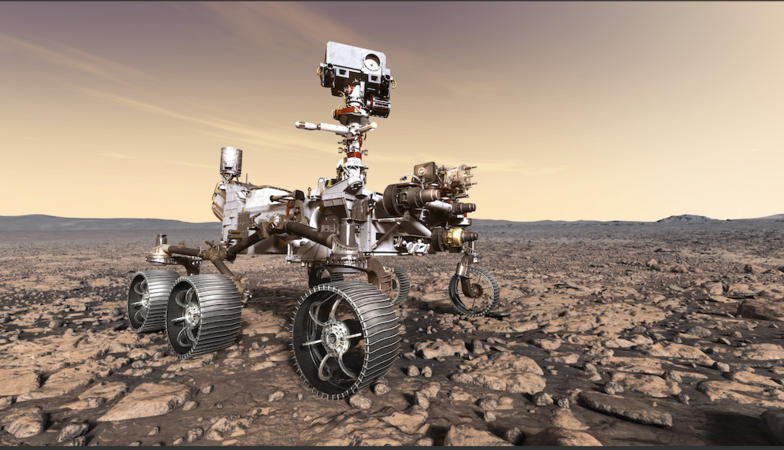 An artist's rendition of NASA's Mars 2020 rover studying its surroundings. MUST CREDIT: NASA/JPL-Caltech