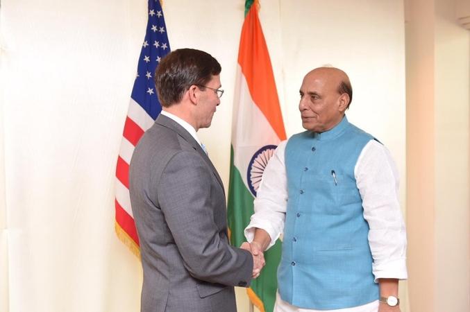 Defence Minister Rajnath Singh held talks with US Defence Secretary Mark T Esper in Bangkok on Sunday. (Photo: Twitter/@rajnathsingh)