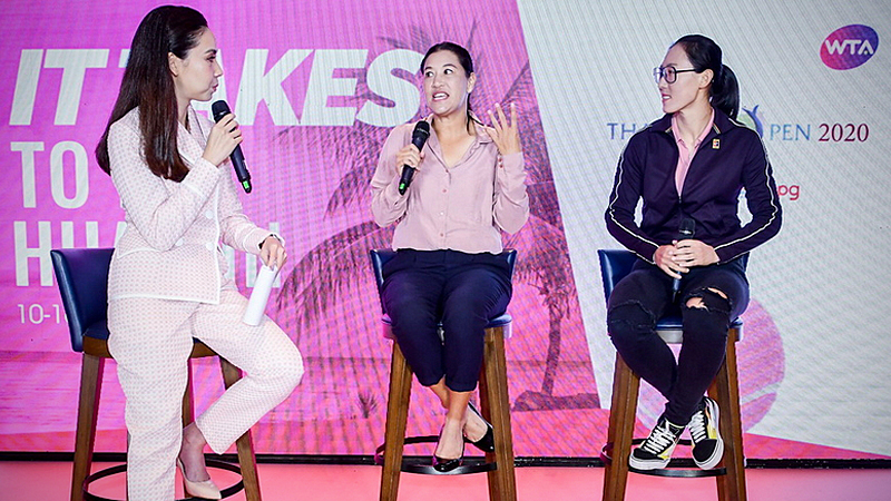 Tamarine Tanasugarn, middle, and Zheng Saisai, right, during the press conference