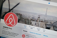 File photo:Paris City Hall Wishes To Reduce Annual Limits For Airbnb Users  PARIS, FRANCE - SEPTEMBER 08: In this photo illustration, Airbnb logo is displayed on a laptop screen on September 08, 2017 Paris, France. The City of Paris wishes to reduce the maximum number of nights permitted for rental. Fixed today at 120 days a year, Paris would like to make it back down to 60, France is the second market for the Californian start-up, behind the United States.Airbnb is an online marketplace and hospitality service, enabling people to rent their flats or houses short-term. (Photo illustration by Chesnot/Getty Images)