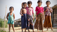 Rohingya children are seen at a camp near Cox's Bazar in Bangladesh in Camp 4 in Kutupalong, Ukhiya, the largest refugee camp in the world where over 700,000 Rohingya refugees live. Photo: Getty Images