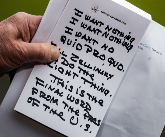 President Donald Trump holds his notes as he speaks to reporters outside the White House on Nov. 20, 2019. MUST CREDIT: Washington Post photo by Salwan Georges Photo by: Salwan Georges — The Washington Post