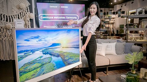 A model introduces QLED The Serif TV in Singapore on Wednesday. (Photo: Samsung Electronics)