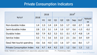 Private consumption indicators expanded at a higher pace compared with the previous month after temporarily benefiting from the government's economic stimulus measures.
