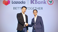 Wirawat Panthawangkun, right, KBank senior executive vice president, and Jack Zhang, left, Deputy CEO of Lazada Thailand.