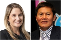 CEO designate of Optus, Kelly Bayer Rosmarin, will take over from Allen Yew, who joined Singtel in 1980.PHOTOS: SINGTEL, STEPHANIE YEOW
