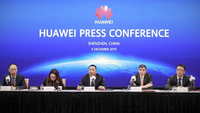Song Liuping (middle), chief legal officer of Huawei, gives a speech in Shenzhen, Guangdong. [Provided to chinadaily.com.cn]