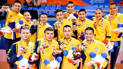 The men's sepak takraw regu team wins the gold medal for the 17th time.