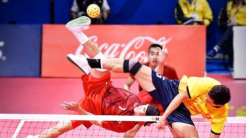 Thailand sepak takraw team play against Malaysia.