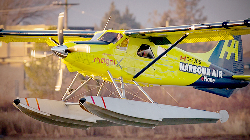 Greg McDougall, founder and CEO of Harbour Air, pilots the world's first all-electric commercial aircraft on its first test flight at Vancouver International Airport, in Richmond, British Columbia, on Dec. 10, 2019. MUST CREDIT: Bloomberg photo by Darryl Dyck.