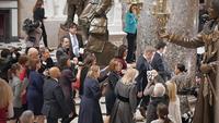 House Speaker Nancy Pelosi, D-Calif., center, walks through the U.S. Capitol on Wednesday. MUST CREDIT: Washington Post photo by Matt McClain
