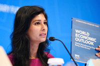 International Monetary Fund (IMF) chief economist Gita Gopinath speaks during a press conference in Washington D.C., the United States, on Oct. 15, 2019. The International Monetary Fund (IMF) on Tuesday lowered its global growth forecast for 2019 to 3 percent in the newly-released World Economic Outlook (WEO) report, down 0.2 percentage point from its estimation in July. (Xinhua/Liu Jie/IANS)