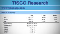 Market summary of SET's Monday trade